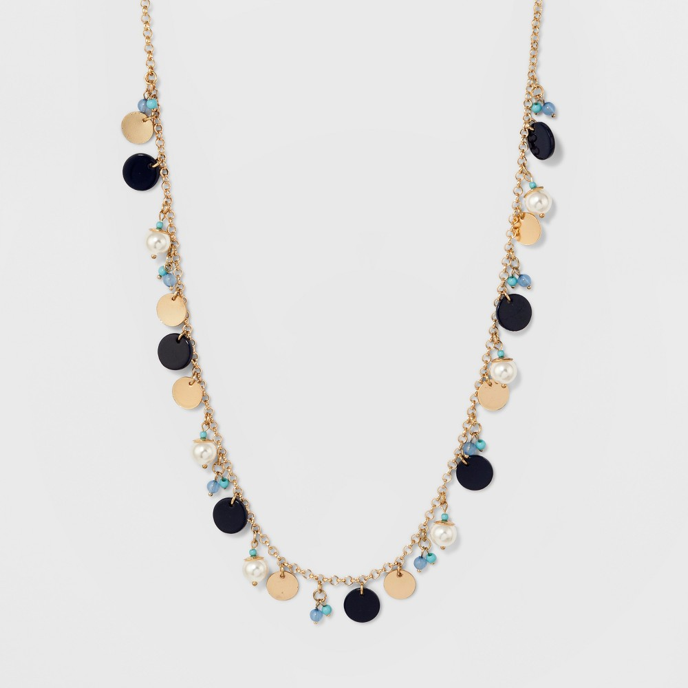Charms Long Necklace - A New Day Gold/Blue