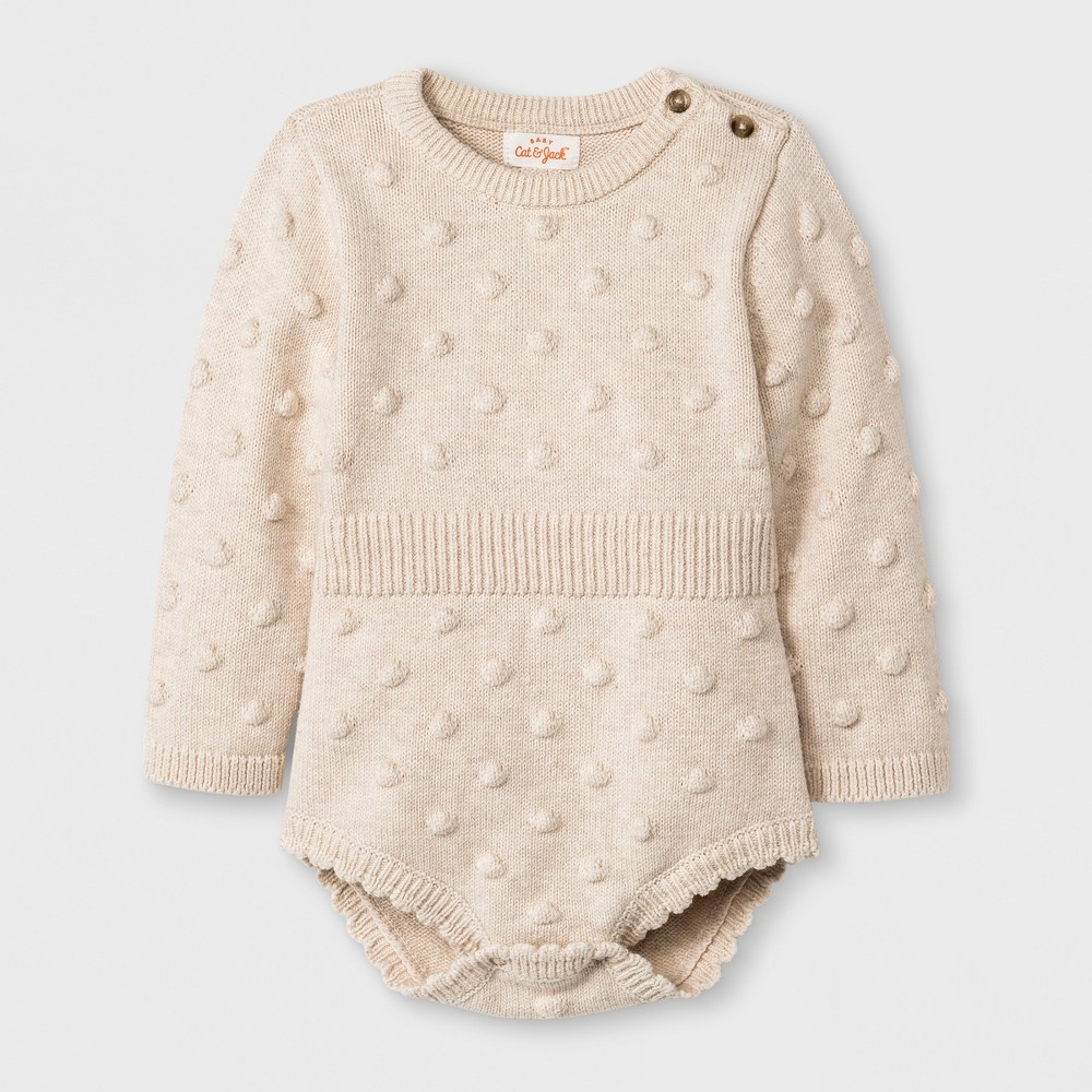 Baby Girls' Long Sleeve Legless Romper Sweater - Cat & Jack Beige 12M