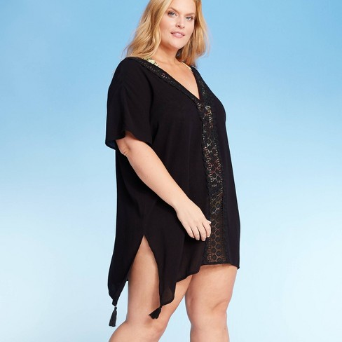 Women's Plus Size Crochet Insert Cover Up Dress - Kona Sol™ - image 1 of 2