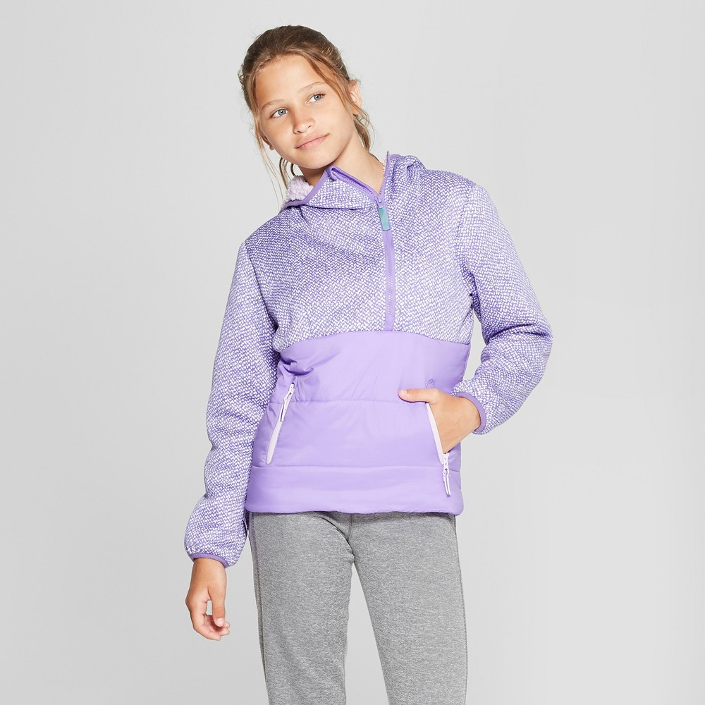 Girls' Half Zip Puffer Jacket - C9 Champion Purple S