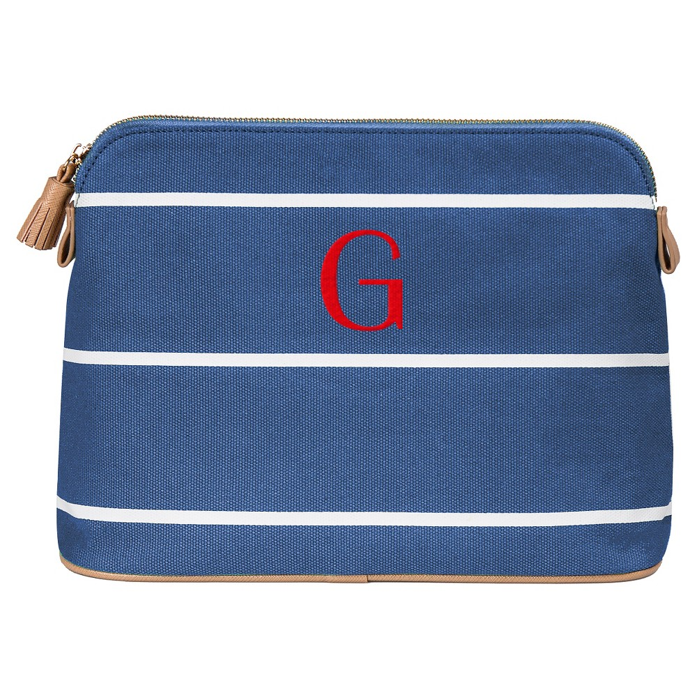 Personalized Blue Striped Cosmetic Bag - G