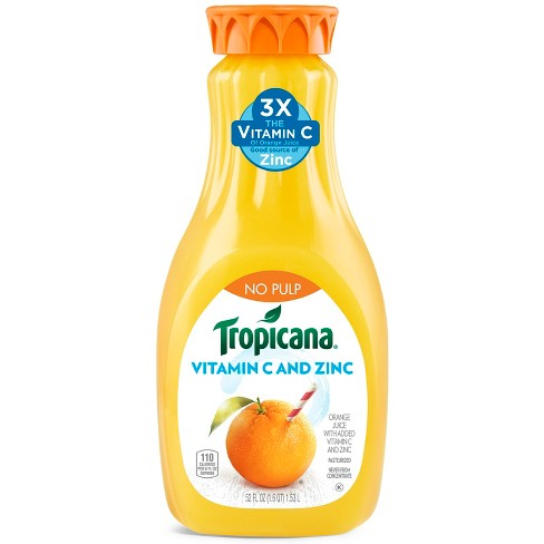 Tropicana No Pulp Orange Juice with Vitamin C & Zinc - 52 fl oz - image 1 of 2