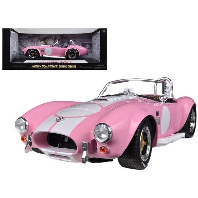 1965 Shelby Cobra 427 S/C Pink with White Stripes & Printed Signature on the Trunk 1/18 Diecast Model Car by Shelby Collectibles