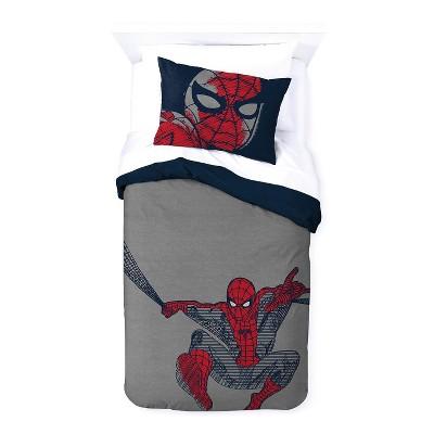Saturday Park Marvel Spiderman Web Stripe Duvet Cover & Sham Set