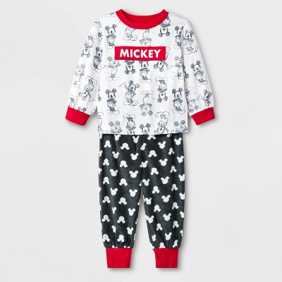 Toddler Boys' 2pc Mickey Mouse Fleece Pajama Set   White/Black by Mickey Mouse & Friends