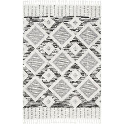 nuLOOM Journey Shaggy Checkered Tiles Tassel Area Rug