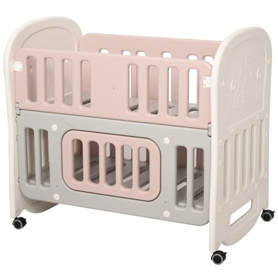 Qaba Convertible Baby Crib 3-in-1 Design Toddler Cot Cradle with Storage Area & 4 Detachable Lockable Wheels without mattress