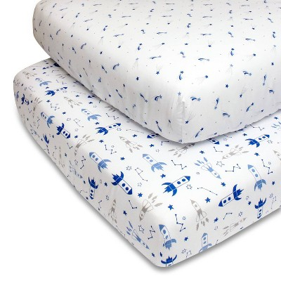 PS by The Peanutshell Fitted Crib Sheets - Rockets/Shooting Stars 2pk