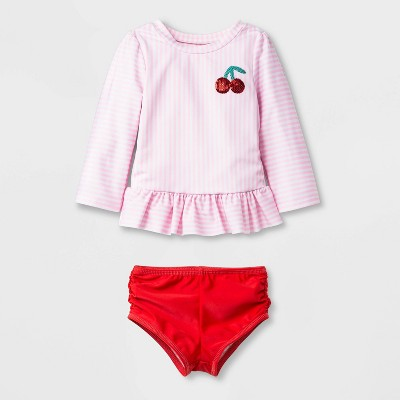 Baby Girls' Long Sleeve Stripe Rash Guard Set - Cat & Jack™ Pink 18M