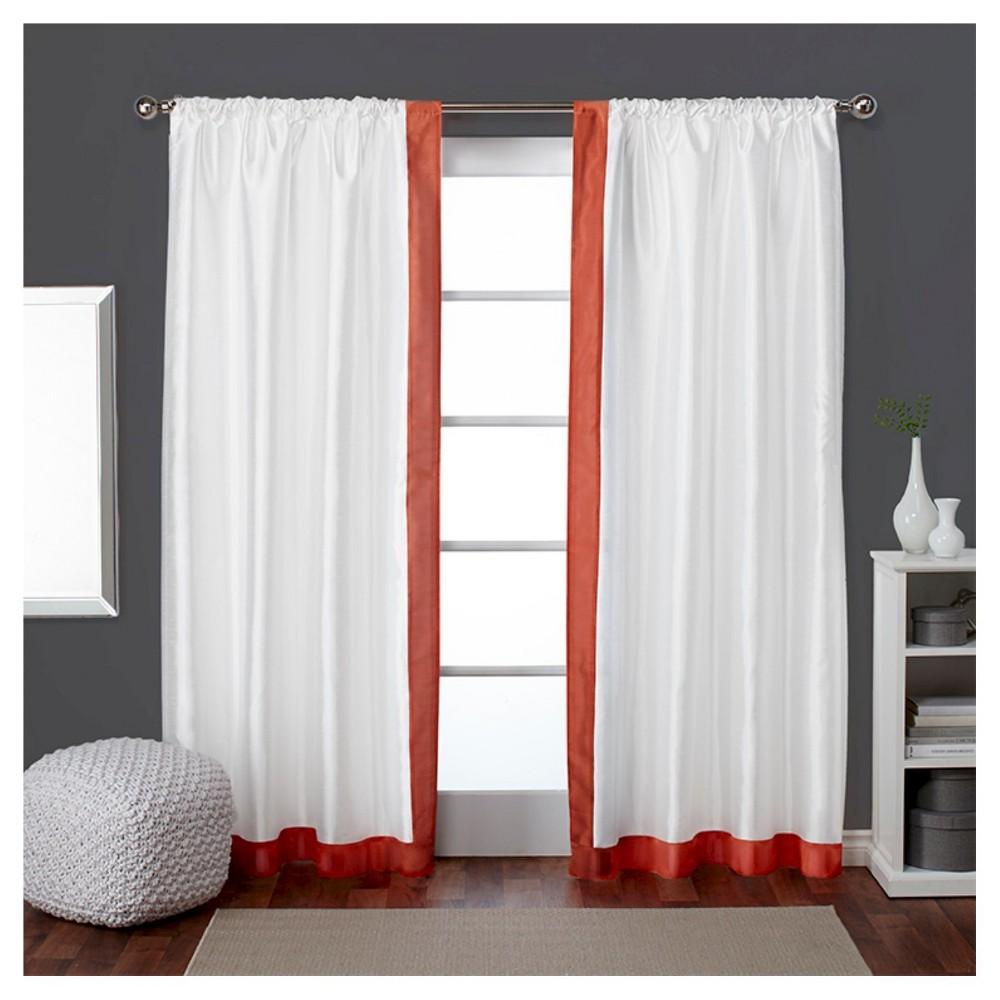 Set of 2 / Pair Grammercy Bordered Faux Silk Rod Pocket Window Curtain Panels Tangerine (Orange) (54