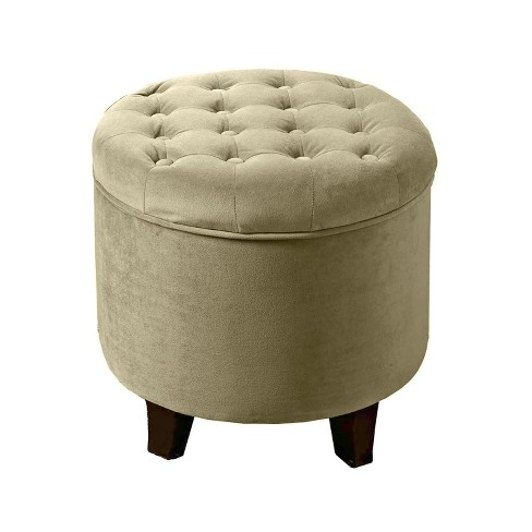 Large Round Tufted Storage Ottoman - HomePop - image 1 of 6