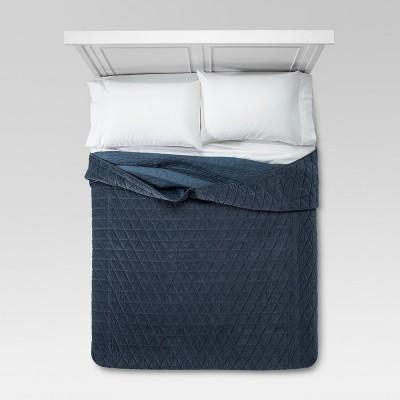 Blue Vintage Wash Velvet Quilt (Full/Queen)- Threshold™