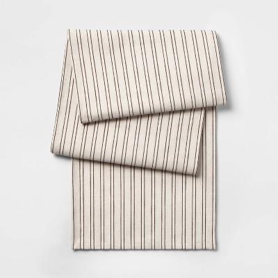 14 X108  Neutral Stripe Yarn Dye Table Runner Brown - Threshold™