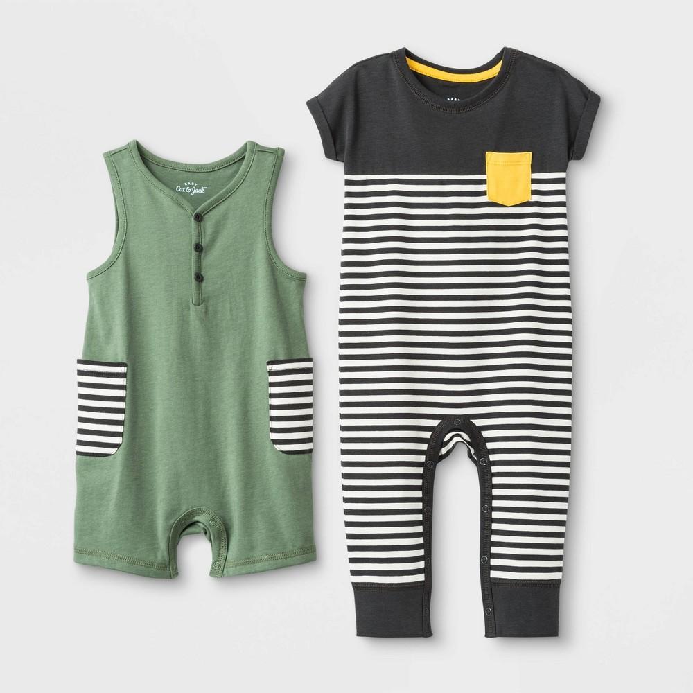 Baby Boys' 2pc Tank Short & Colorblock Dolman Rompers - Cat & Jack Green/Gray 24 M, Size: 24M, Gray Green