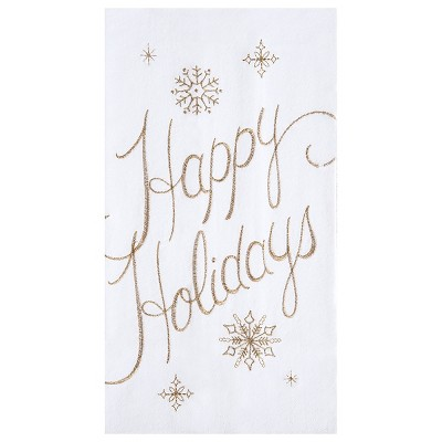 C&F Home Happy Holidays & Celebrate Flour Sack Embroidered Cotton Kitchen Towel Set of 2