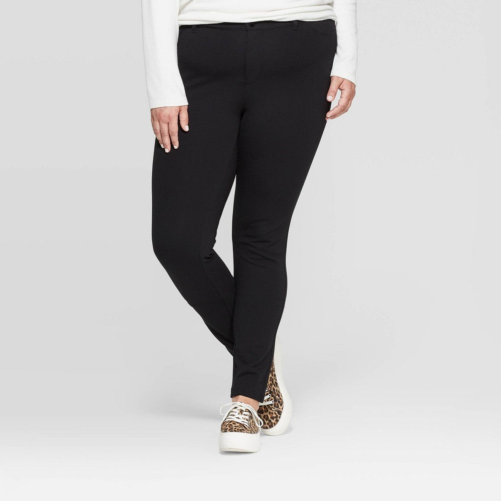 Image of Women's Plus Size 5 Pocket Ponte Pants - Ava & Viv Black 14W