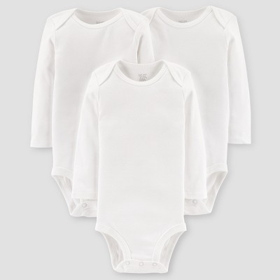 Baby 3pk Long Sleeve Bodysuit - Just One You™ Made by Carter's® White Newborn