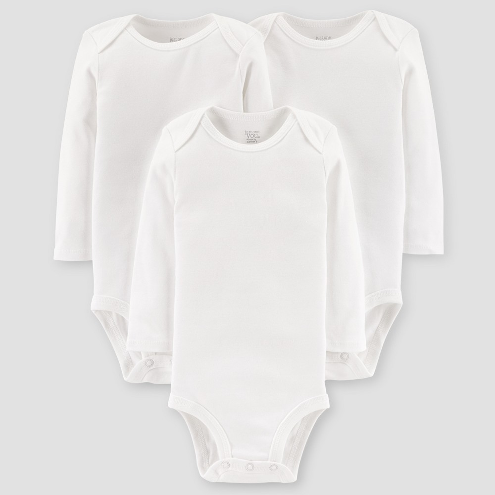 Image of Baby 3pk Long Sleeve Bodysuit - Just One You Made by Carter's White 12M, Kids Unisex
