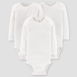 Baby 3pk Long Sleeve Bodysuit - Just One You® made by carter's White