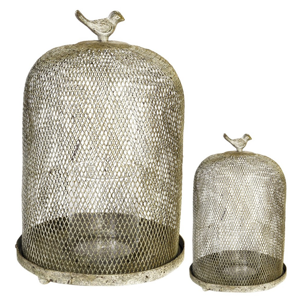 Image of 2pc Ophira Golden Sparrow Mesh Candle Holders - A&b Home, Off White