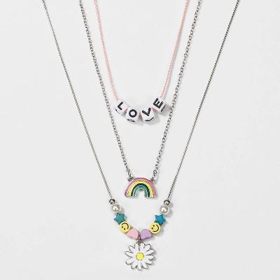 Girls' 3pk Layered Love and Rainbow Necklace - Cat & Jack™