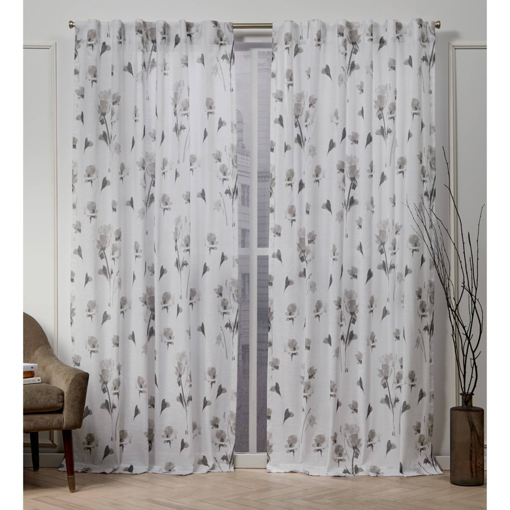 "Image of ""50""""x108"""" La Petite Fleur Back Tab Light Filtering Window Curtain Panels Taupe Brown - Nicole Miller, Brown Brown"""