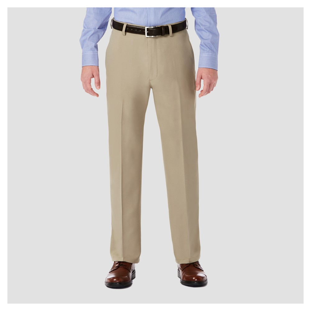 Image of Haggar H26 Men's Big & Tall Performance 4 Way Stretch Classic Fit Trouser Pants - Khaki 44x30, Size: Small, Beige