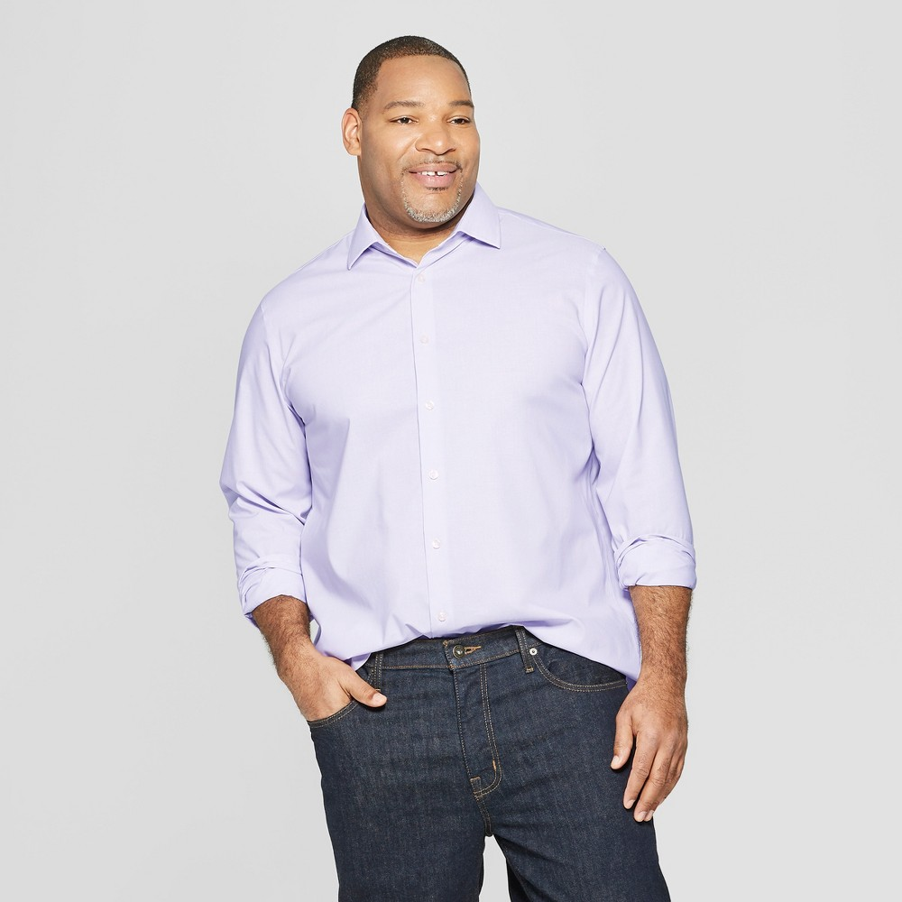 Men's Big & Tall Micro Striped Standard Fit Long Sleeve Button-Down Shirt - Goodfellow & Co Restful Plum 5XBT, Purple