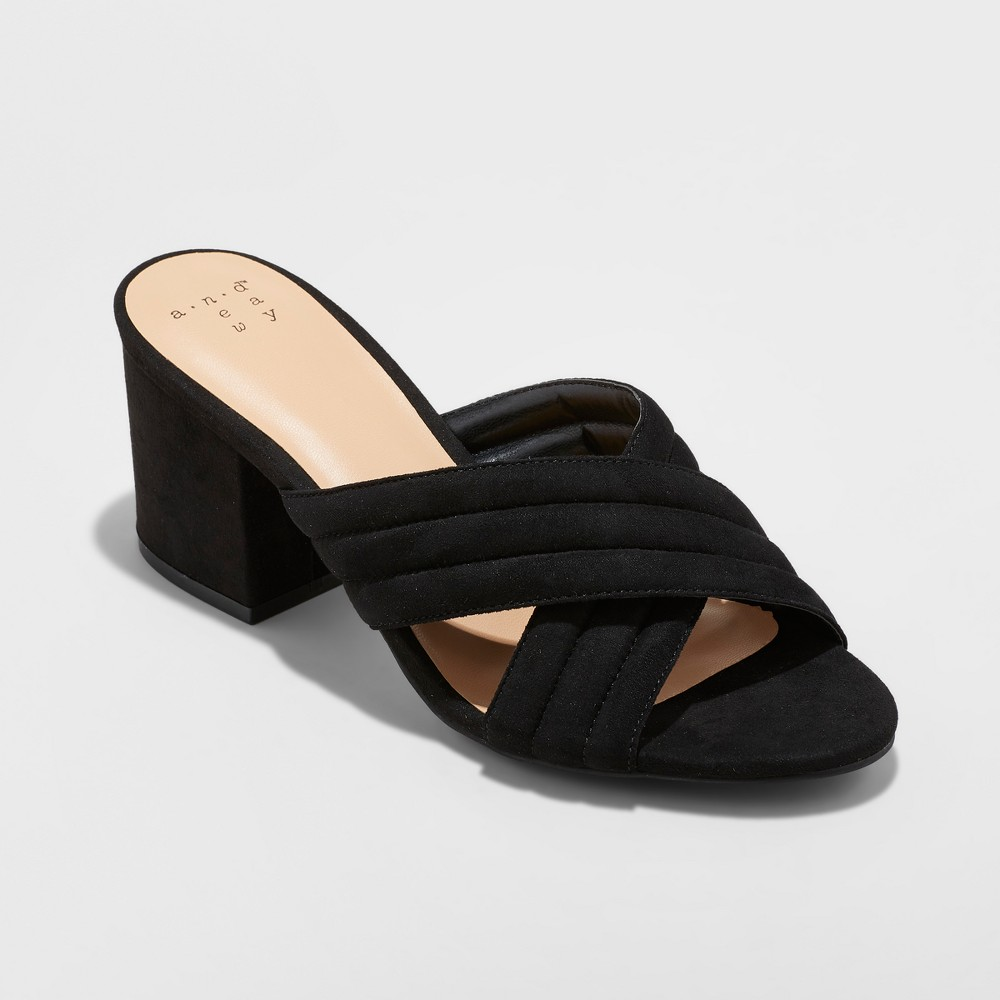 Women's Miriam Crossband Quilted Mules - A New Day Black 8.5