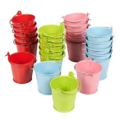 24-Pack Small Metal Buckets - 2-Inch Mini Pails with Handles, for Party Favors, Candy, Votive Candles, Trinkets, Small Plants, Green, Blue, Pink, Red