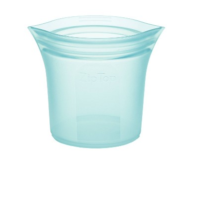 Zip Top 8oz Reusable 100% Platinum Silicone Container - Short Cup - Teal
