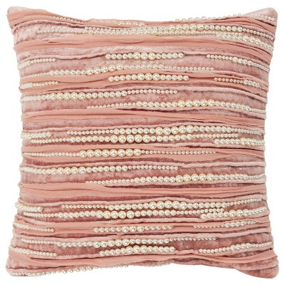 """12""""x12"""" Stripe Polyester Filled Pillow Pink - Rizzy Home"""