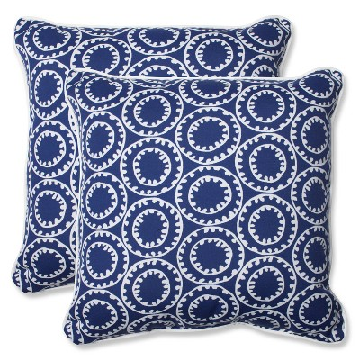 Pillow Perfect Ring a Bell Outdoor 2pc Square Throw Pillow Set - Blue