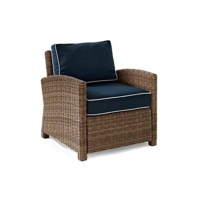 Crosley Crolsey Bradenton Outdoor Wicker Arm Chair with Navy Cushions