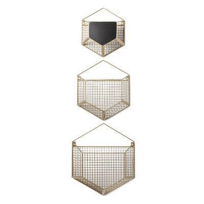 Wire Wall Storage Hexagon 3pk - Cloud Island™ - Gold