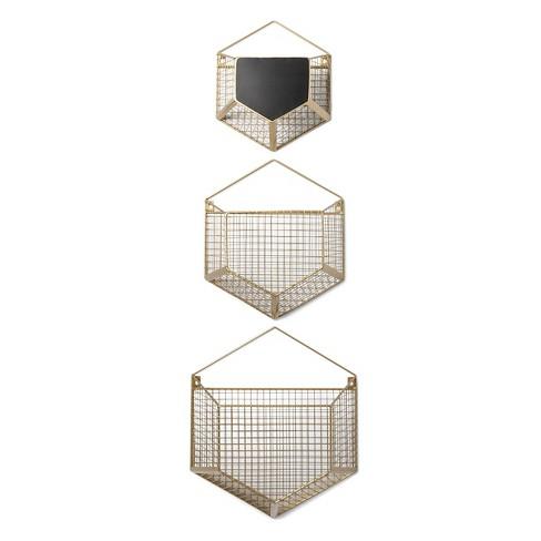 Wire Wall Basket | Wire Wall Storage Hexagon 3pk Cloud Island Gold Target
