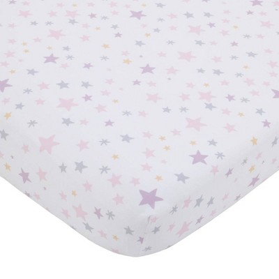Little Love By NoJo Shine On My Love Girl Stars Fitted Crib Sheet - Pink/Lavender and White