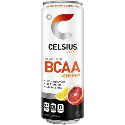 Celsius BCAA Blood Orange Lemonade Sparkling Energy Drink - 12 fl oz Can