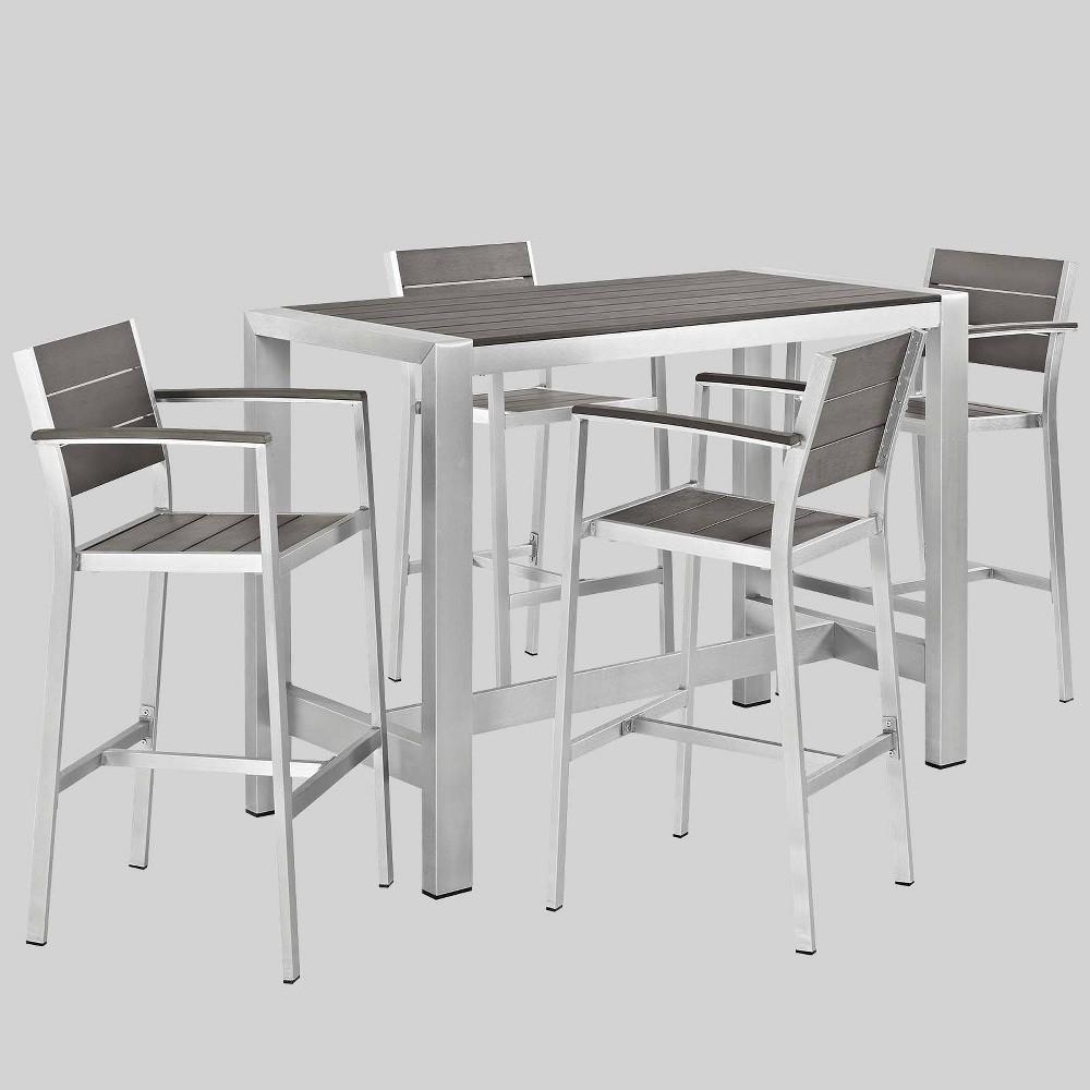 5pc Shore Outdoor Patio Aluminum Dining Set Gray Modway