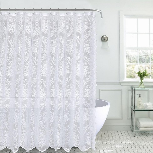 Kate Aurora Country Farmhouse Shabby Chic Floral Lace Shower Curtain Target