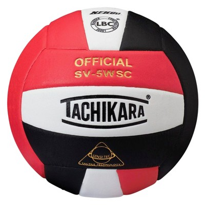 Tachikara SV-5WSC NFHS Composite Leather Volleyball, Scarlet/White/Black
