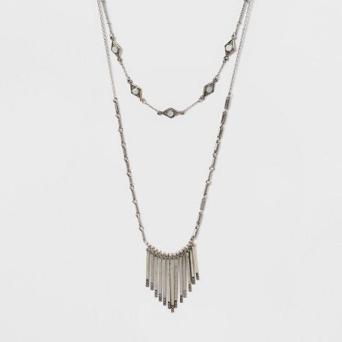 "2 Row Necklace (14"") - Universal Thread™ Worn Silver - image 1 of 3"