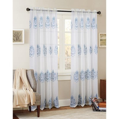 Ramallah Trading Bergen Floral Embroidered 54 x 84 in. Single Rod Pocket Curtain Panel