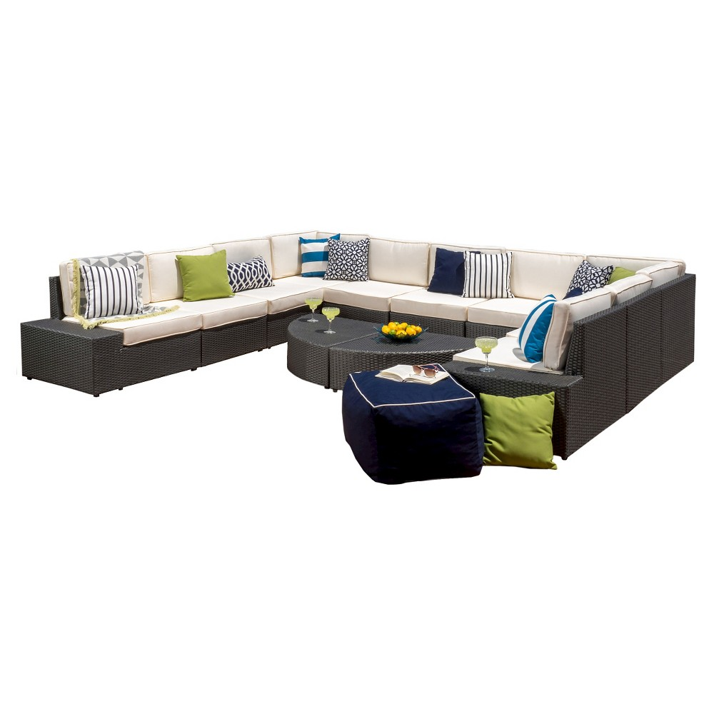 Santa Cruz 12pc Wicker Sofa Set with Cushions - Gray - Christopher Knight Home