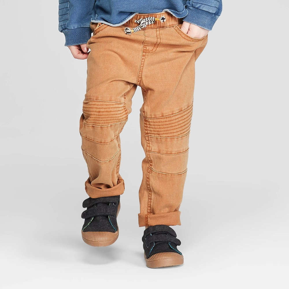 Toddler Boys' Moto Denim Pants - art class Rust 12M, Brown