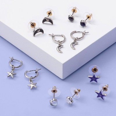 Girls' 6pk Moon and Star Earring Set - More Than Magic™