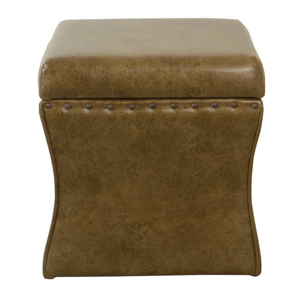 Cinch Storage Ottoman with Nailheads Faux Leather Light Brown - HomePop was $99.99 now $74.99 (25.0% off)