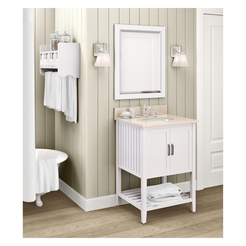 Bennett with Beige Marble Sink Top and Bath Storage Shelf and Vanity Mirror Set Bath Vanity Cabinet White 25 - Alaterre Furniture
