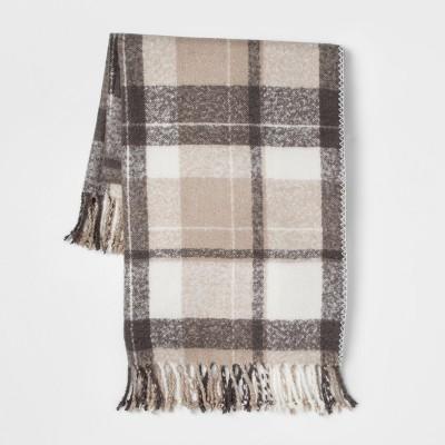 60 x50  Faux Mohair Plaid Throw Blanket Beige - Threshold™