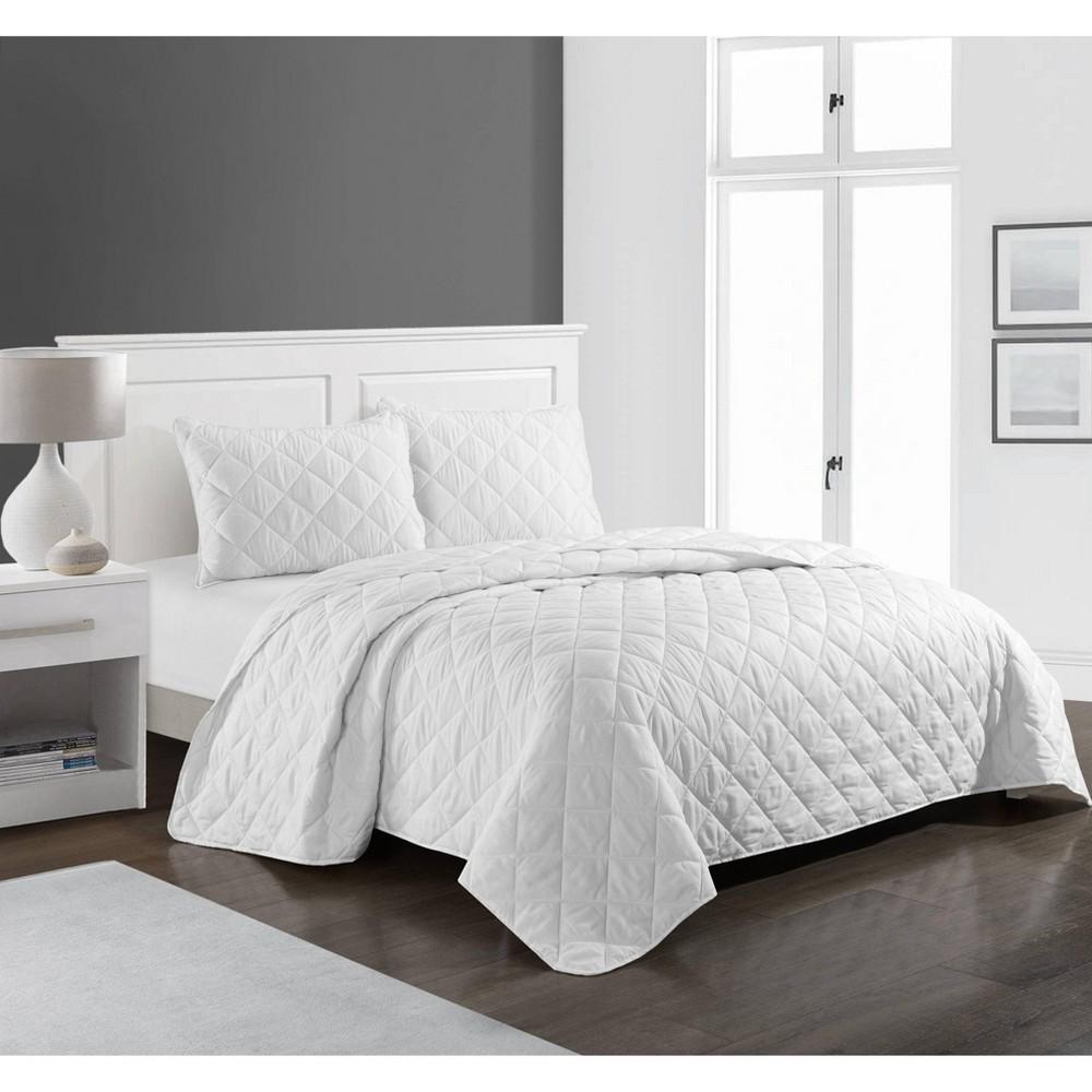 Queen Solid Casa Quilt Set White Idea Nuova